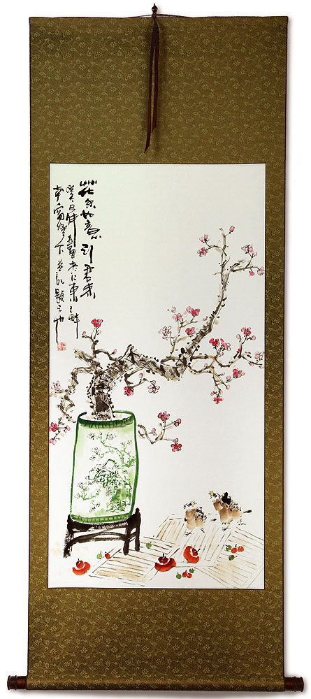 Large Plum Blossom Poetry Wall Scroll