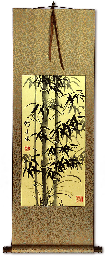 Black Ink Asian Bamboo Wall Scroll