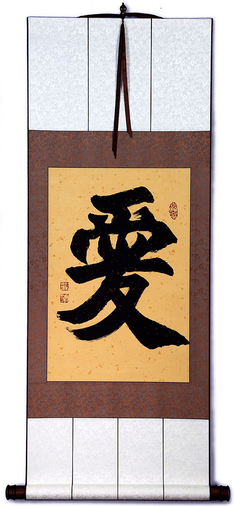 LOVE - Chinese & Japanese Kanji Calligraphy Wall Scroll