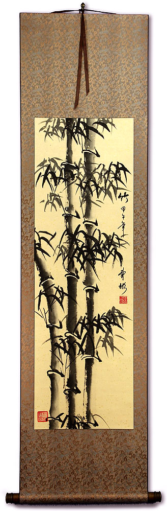 Chinese Freestyle Bamboo Wall Scroll