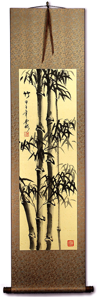 Tall Chinese Ink Bamboo Wall Scroll