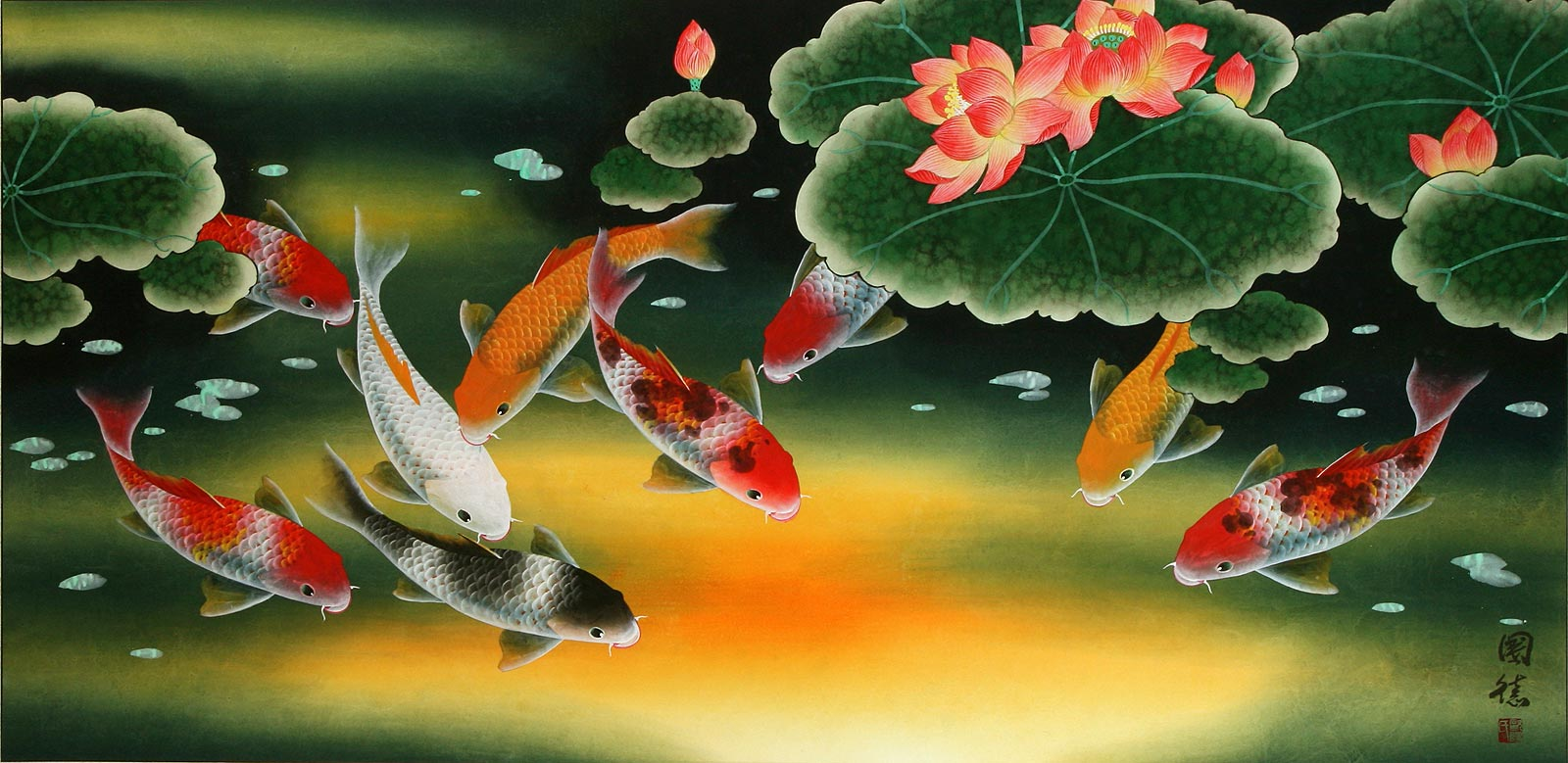 Huge Koi Fish and Lily Chinese Art Painting