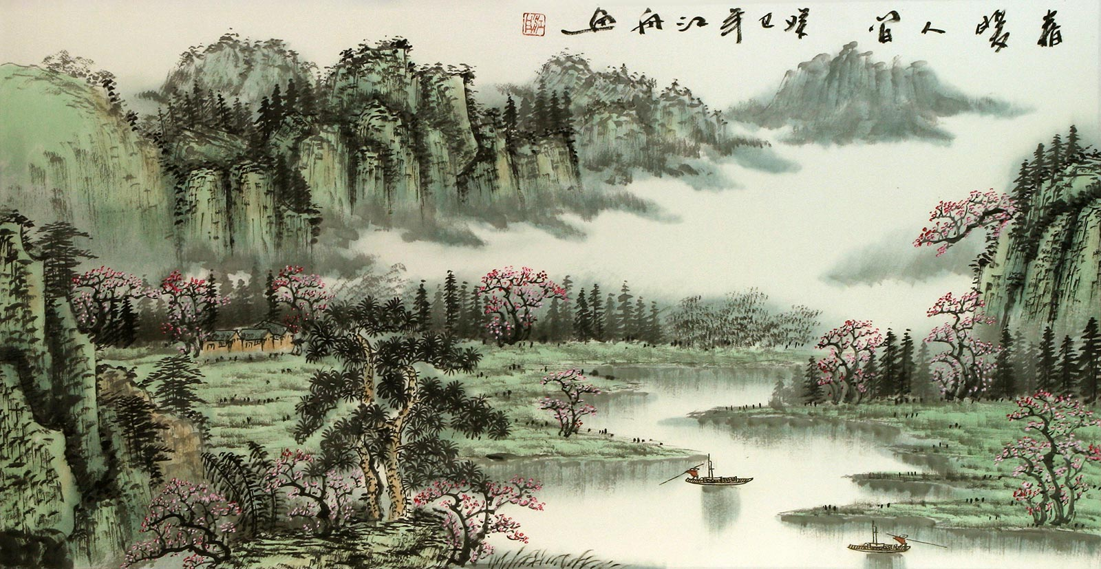 Warmth of Spring Inspires Mankind - Asian Art Landscape