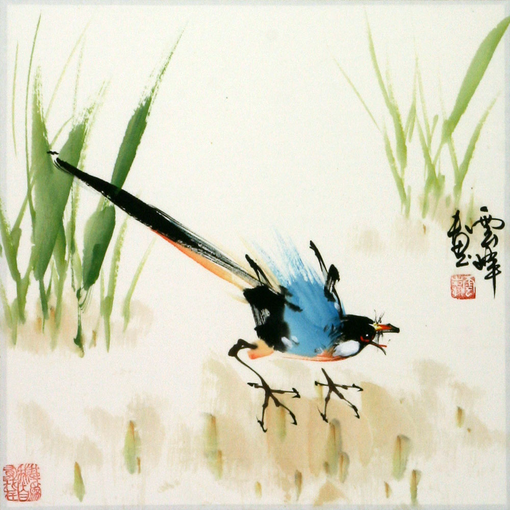 Abstract Bird in Grass Painting