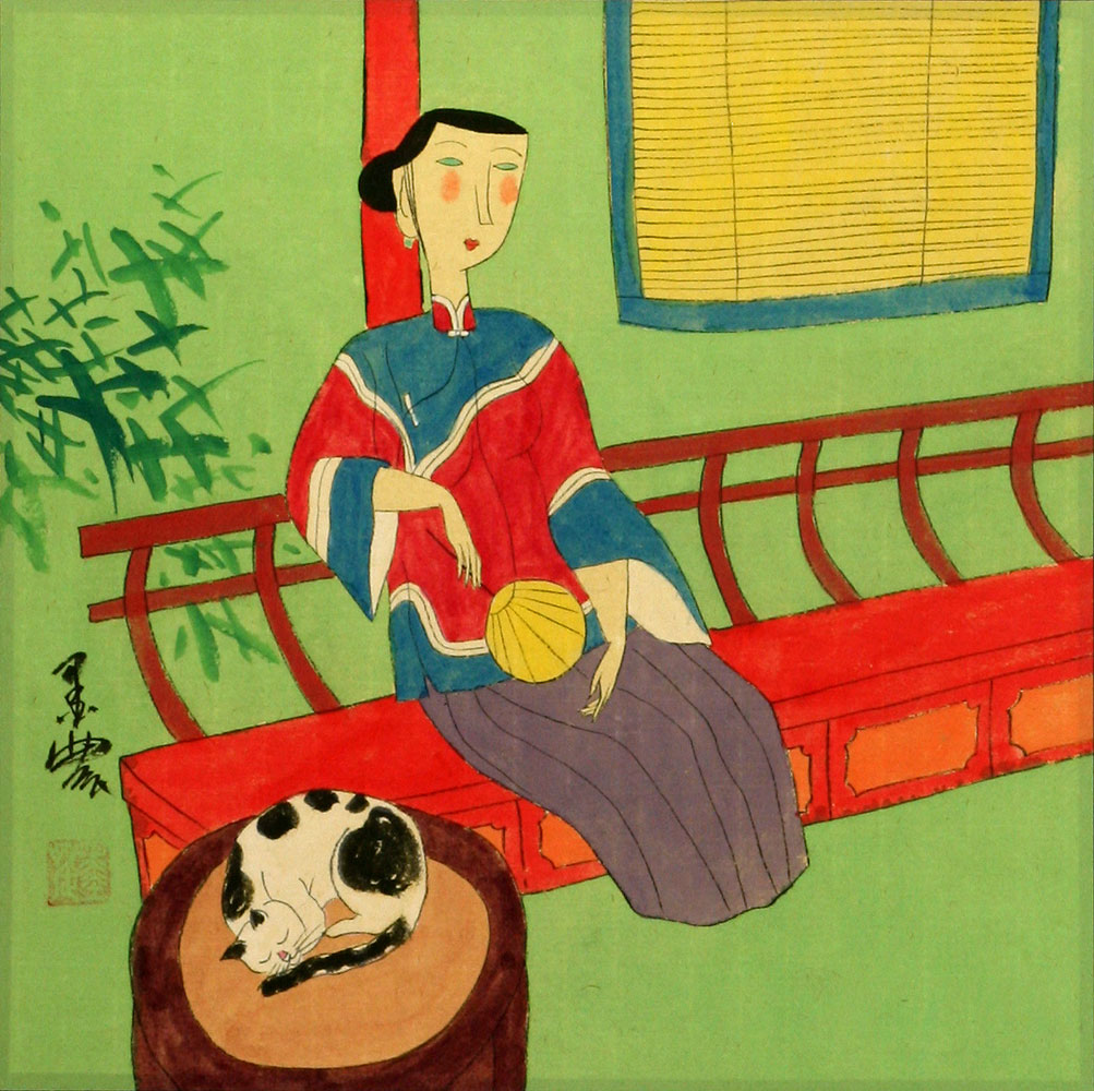 Asian Woman and Cat - Modern Oriental Art Painting