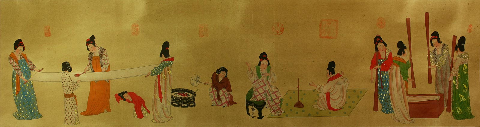 Tang Dynasty Ladies Daily Chores - Partial Print Painting