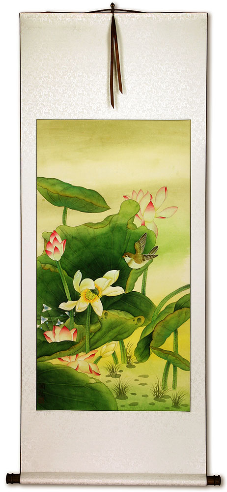 Chinese Birds and Lotus Wall Scroll