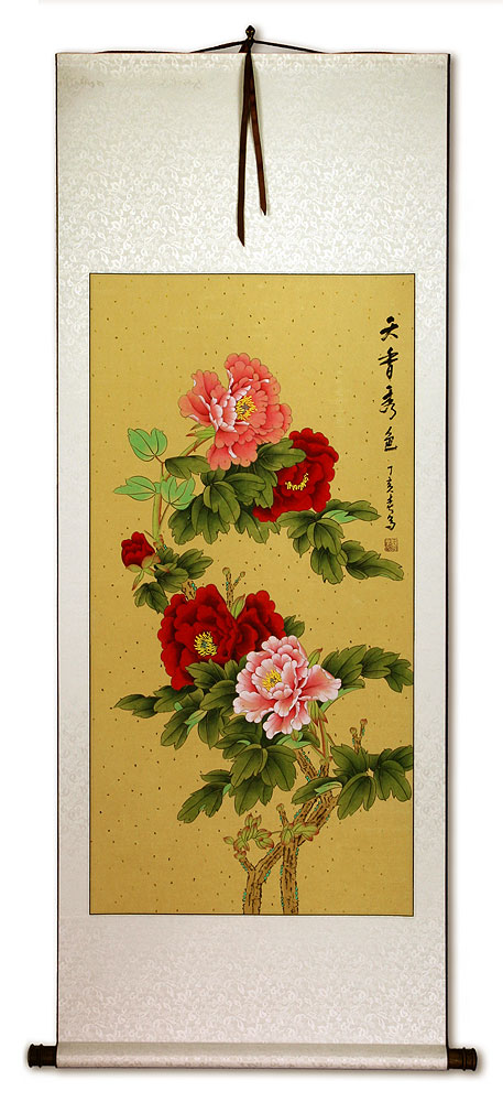 Heavenly Fragrance and Beauty - Peony Flower Wall Scroll