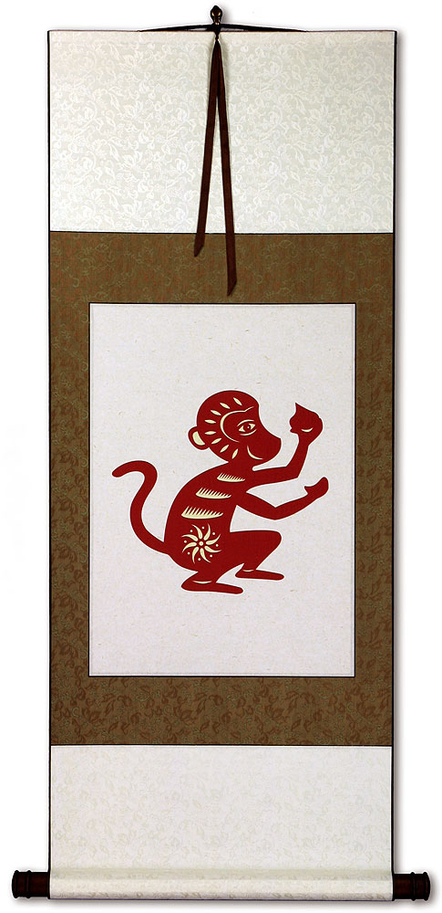 Monkey Symbol Print - Chinese Scroll