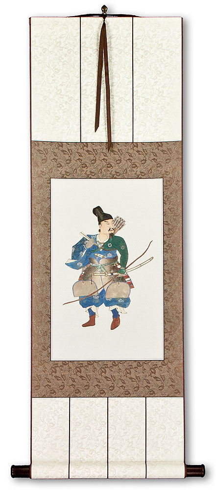 The Noble Archer Warrior - Japanese Woodblock Print Repro - Wall Scroll
