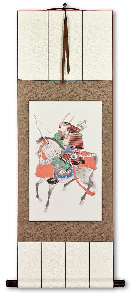 Samurai Warrior on Horseback- Japanese Woodblock Print Repro - Wall Scroll