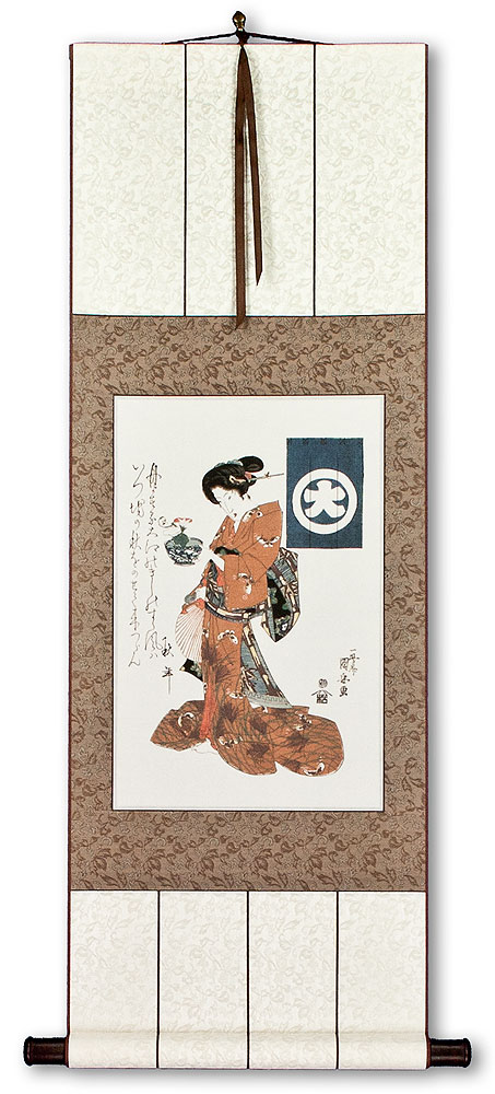 Woman Carrying Morning Glory in a Bowl - Japanese Print Repro - Wall Scroll