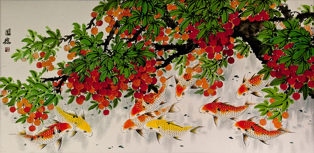 Huge Koi Fish and Lychee Painting