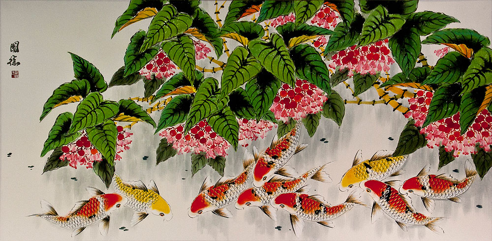 Huge Chinese Koi Fish and Lychee Fruit Painting