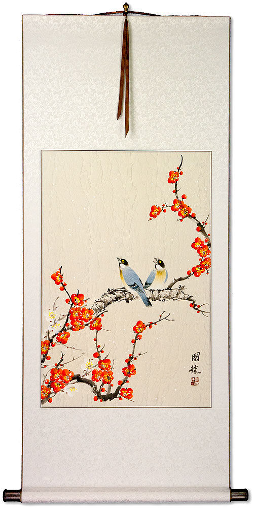 Birds and Bright Red-Orange Plum Blossom Wall Scroll