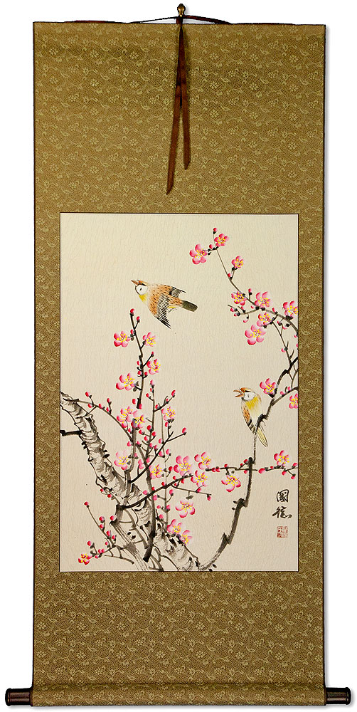 Birds and Bright Pink Plum Blossom Wall Scroll