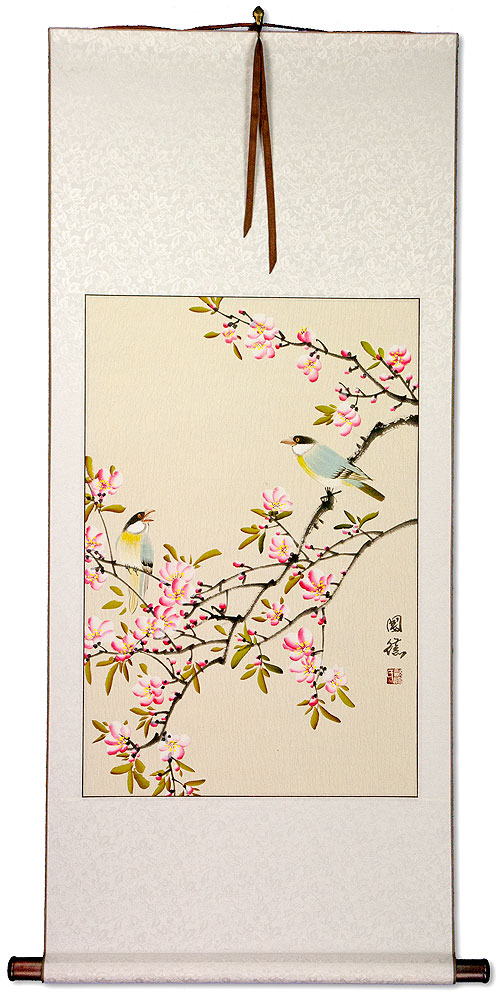 Birds and Bright Pink Blossom Wall Scroll