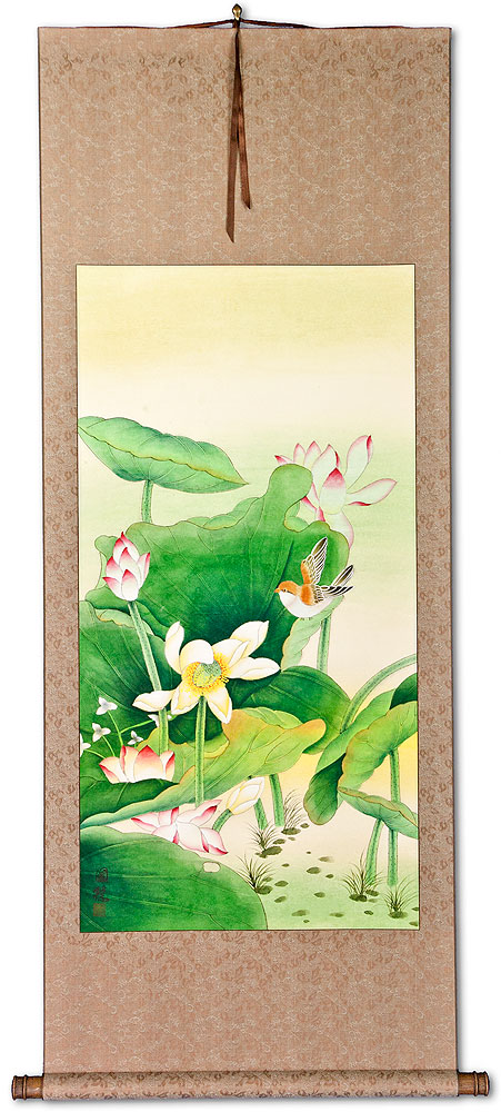 Large Bird and Flower Wall Scroll