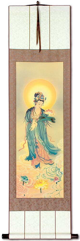 Guanyin Buddha Lotus Embrace - Giclee Print - Wall Scroll