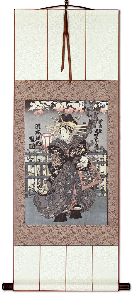 Shigeoka Geisha - Japanese Woodblock Print Repro - Wall Scroll