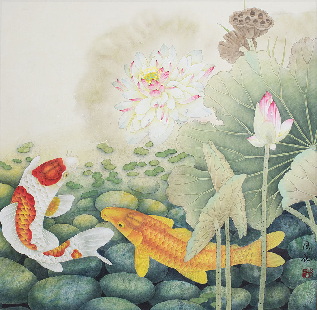 Koi Fish in Lotus Pond - Large Painting