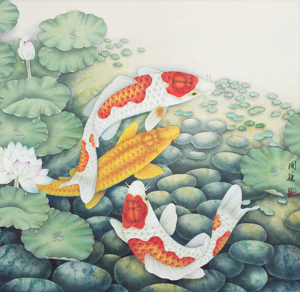 Koi Fish and Lotus Flowers - Large Painting