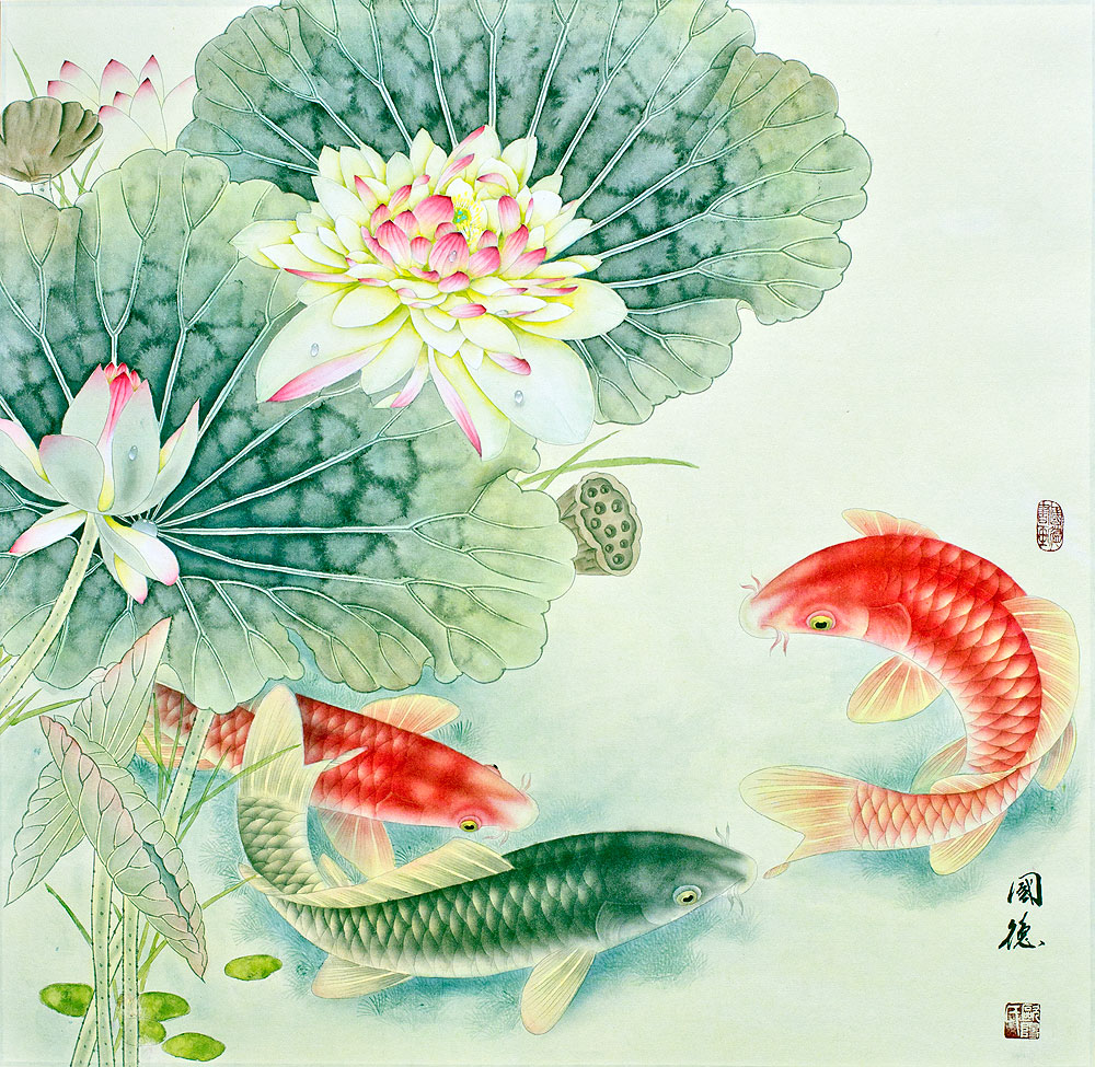 Koi Fish and Lotus Flower - Gorgeous Asian Painting