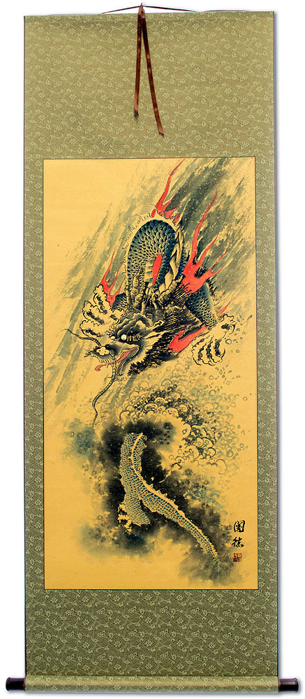 Antique-Style Flying Chinese Dragon - Wall Scroll - Tigers & Dragons ...