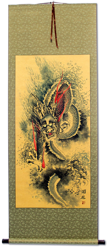 Flying Asian Dragon - Chinese Wall Scroll