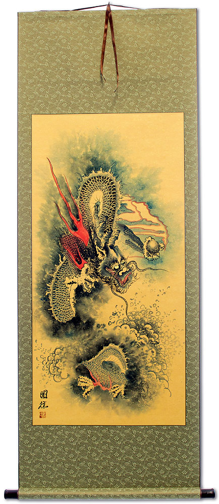 Flying Chinese Dragon and Lightning Pearl - Chinese Wall Scroll