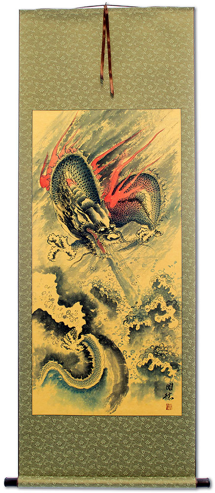 Flying Chinese Dragon and Lightning Pearl - Chinese Scroll