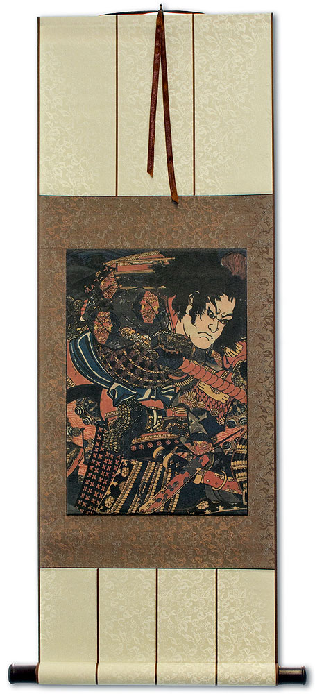 Samurai Warrior Swordsman - Japanese Woodblock Print Repro - Wall Scroll