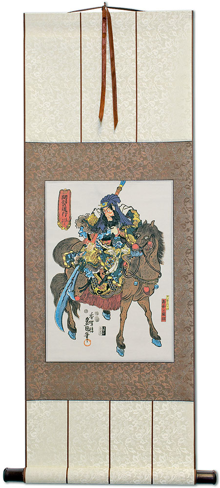 Warrior Saint on Horseback - Kanu - Japanese Woodblock Print Repro - Wall Scroll