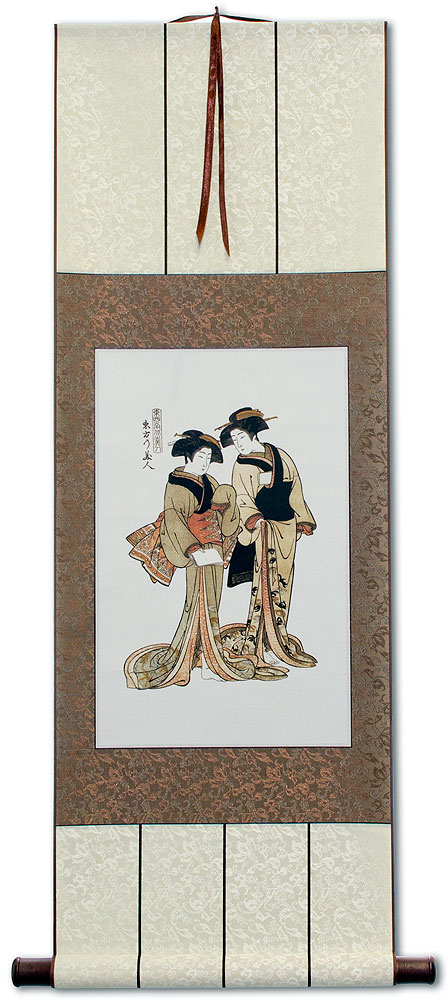 Beauties of the East - Japanese Woodblock Print Repro - Wall Scroll