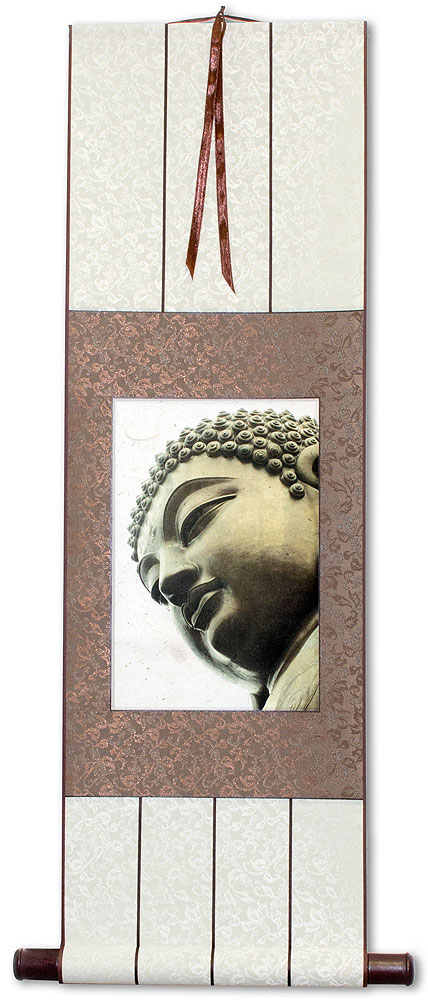 Face of Buddha Print - Small Wall Scroll