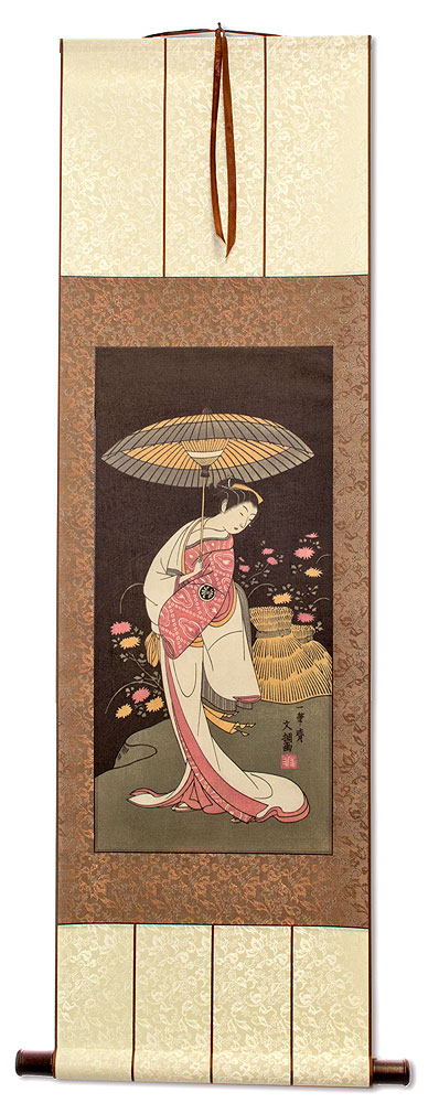Japanese Geisha Parasol Print Wall Scroll