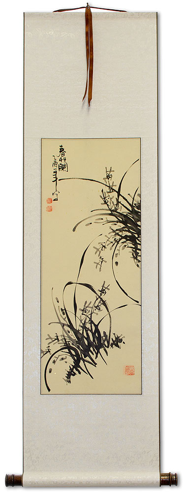 Classic Chinese Orchid Wall Scroll