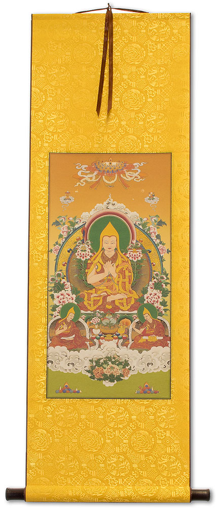 Tibetan Buddha Print - Yellow Wall Scroll