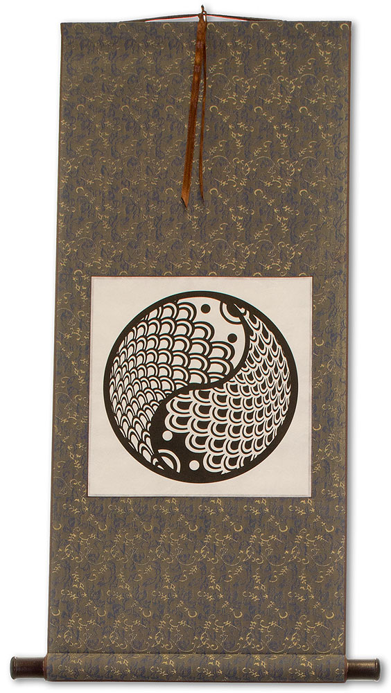 Yin Yang Fish Print - Chinese Wall Scroll