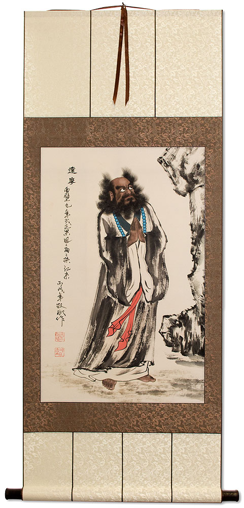 Da Mo / Bodhidharma Faces The Wall - Chinese Silk Scroll
