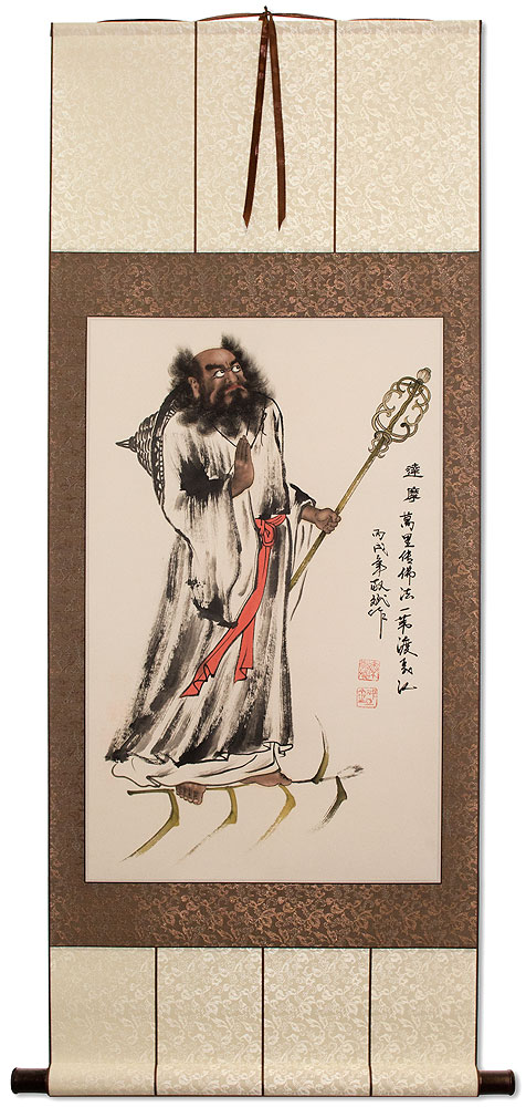 Damo Buddha Flying on a Reed Stalk - Wall Scroll