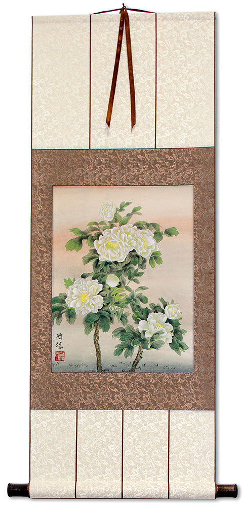 Chinese White Flower Wall Scroll