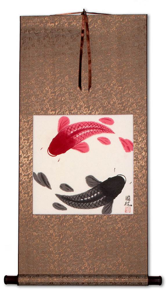 Chinese Yin Yang Fish Silk Wall Scroll