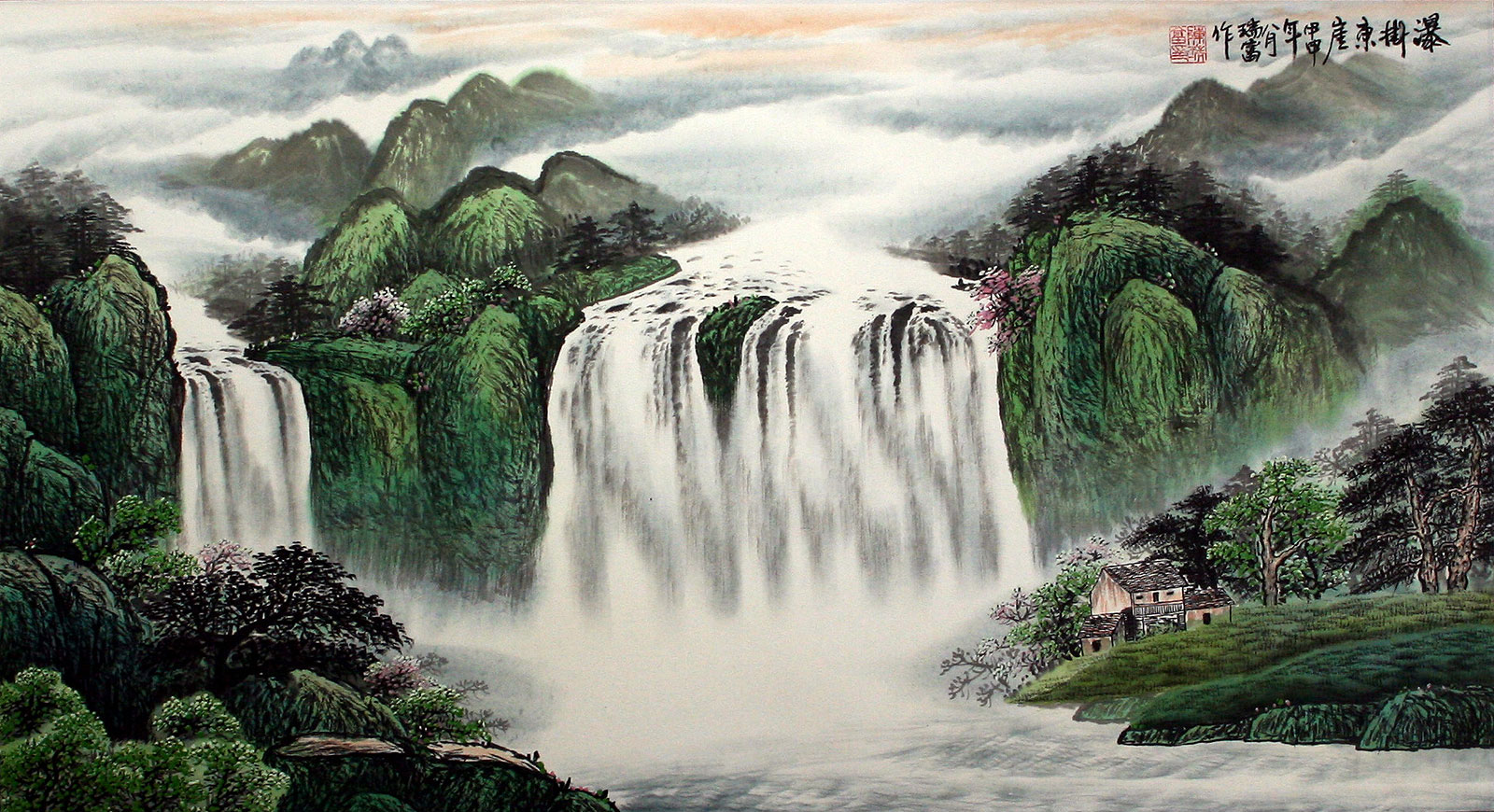 Waterfall Hanging On The East Cliff Large Landscape Painting