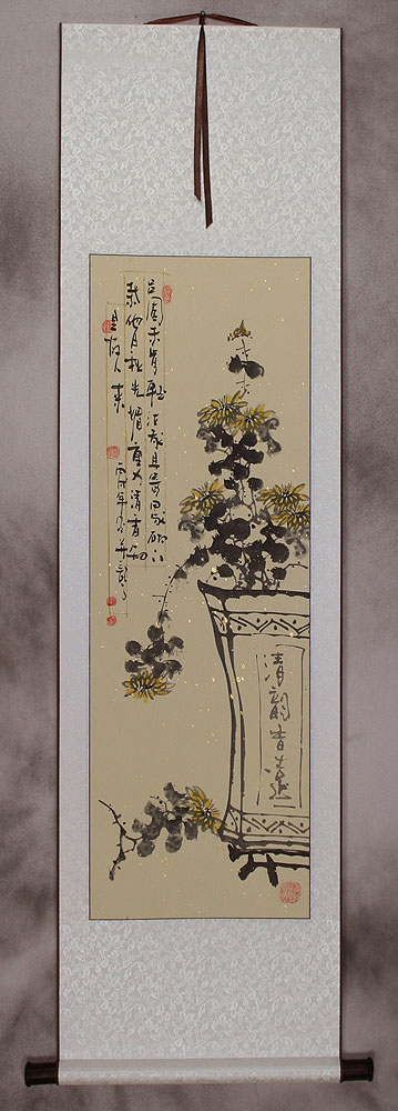 Traditional Chinese Ink Flower Wall Scroll