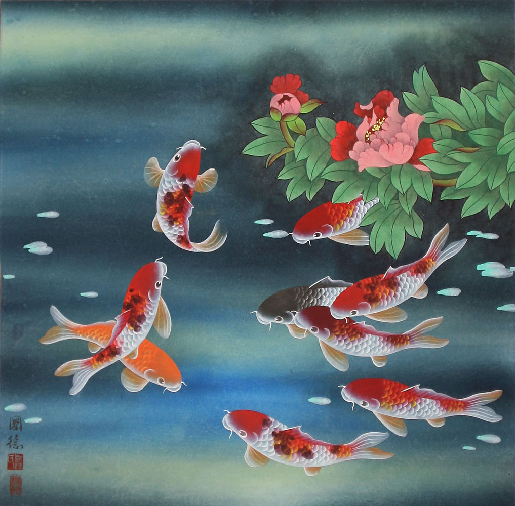 Nine Koi Fish and Flowers Asian Painting