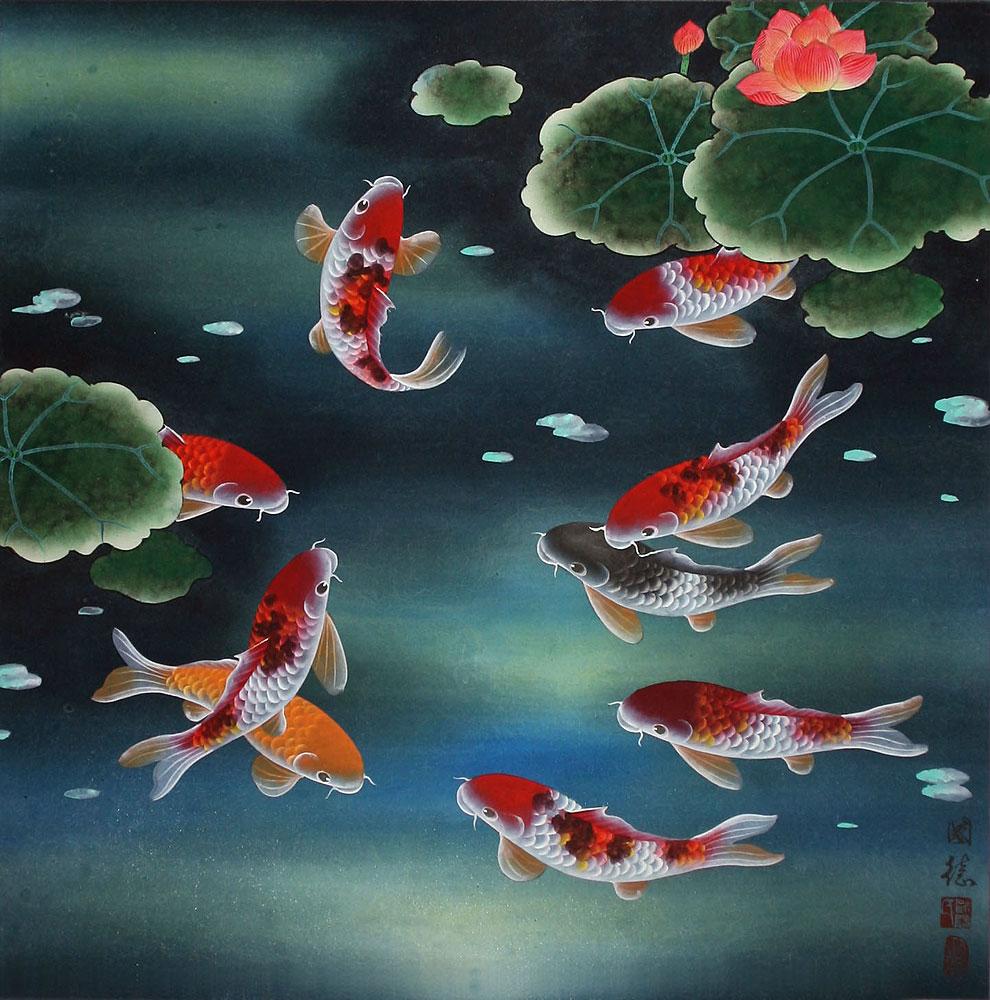 Nine Koi Fish And Lotus Flowers Chinese Painting Asian Koi Fish