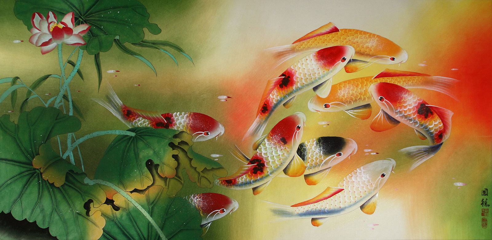 Koi fish and lotus flower chinese painting asian koi fish koi fish and lotus flower chinese painting izmirmasajfo