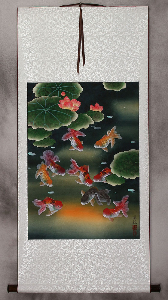Gold Fish & Flowers - Asian Wall Scroll