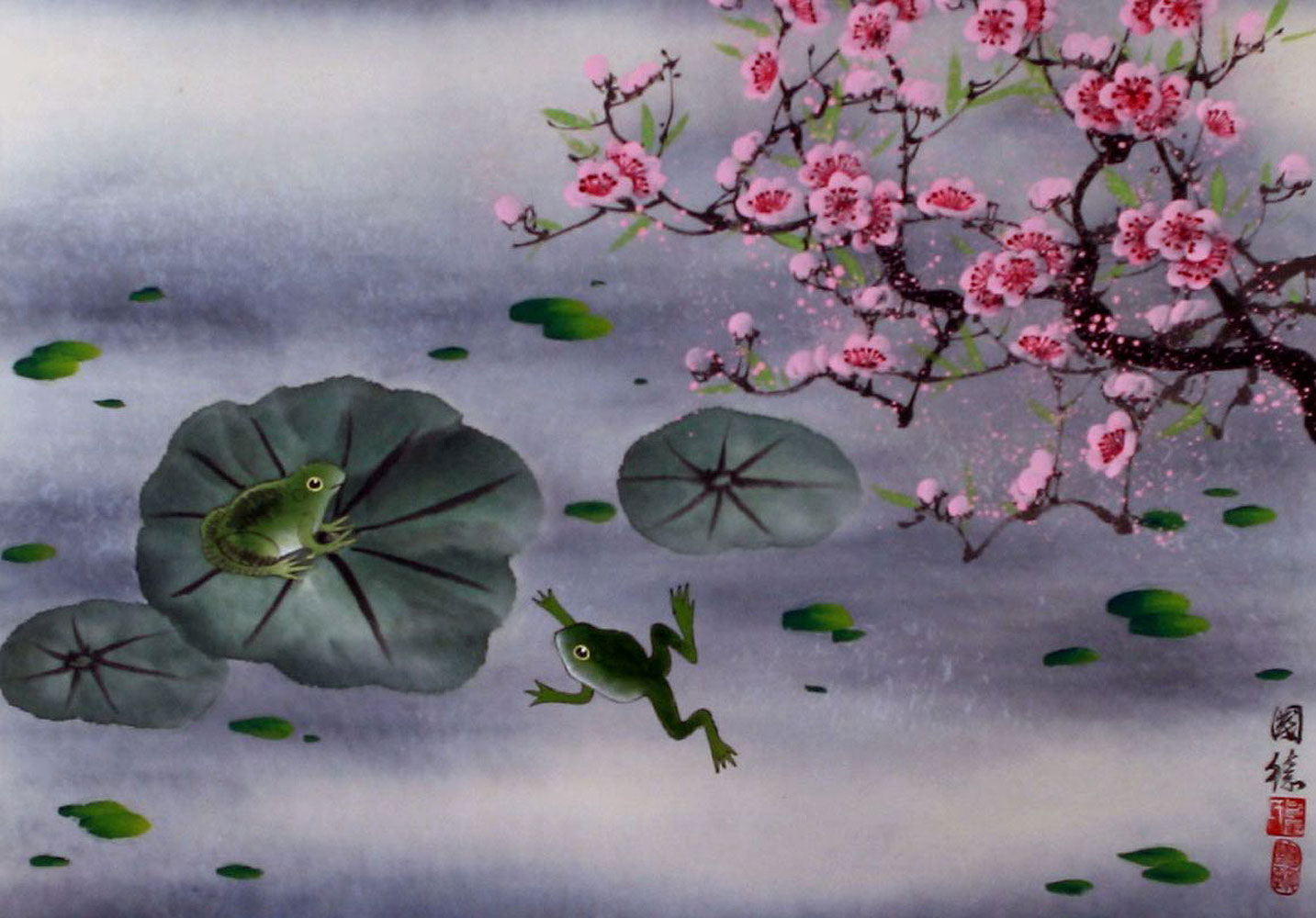 Chinese Frogs and Plum Blossom Painting